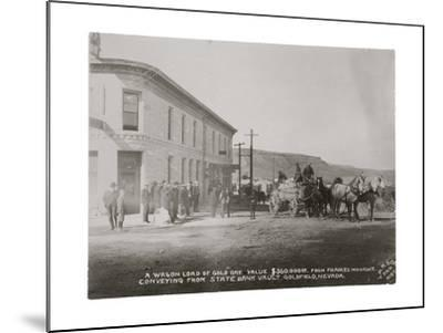 Goldfield, Nevada Armed Guards With Wagon Of Gold Ore-P.E. Larson-Mounted Art Print