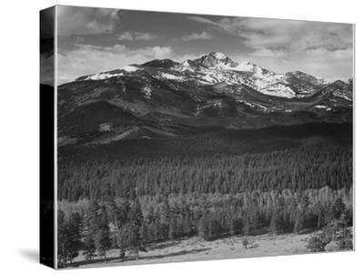 """Trees Fgnd, Snow Covered Mts Bkgd """"Long's Peak From North Rocky Mountain NP"""" Colorado 1933-1942-Ansel Adams-Stretched Canvas Print"""