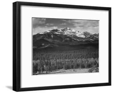 """Trees Fgnd, Snow Covered Mts Bkgd """"Long's Peak From North Rocky Mountain NP"""" Colorado 1933-1942-Ansel Adams-Framed Art Print"""