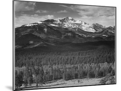 """Trees Fgnd, Snow Covered Mts Bkgd """"Long's Peak From North Rocky Mountain NP"""" Colorado 1933-1942-Ansel Adams-Mounted Art Print"""