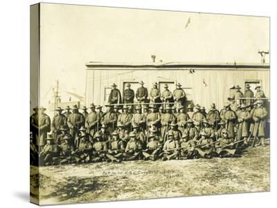 """Federal Troops Brought In To Put Down Strikes In Goldfield, Co. """"F"""" 1st Infantry NG Of Colorado-R.G. Leonard-Stretched Canvas Print"""