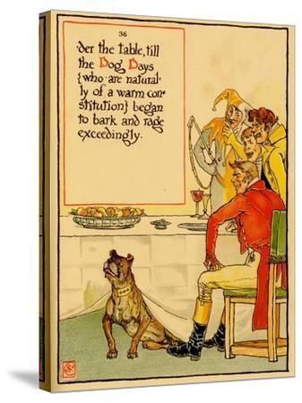 Dog Under The Table For The Dog Days Of Summer Begins Barking-Walter Crane-Stretched Canvas Print