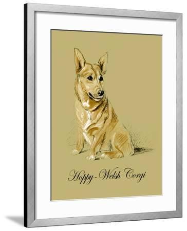 Hoppy The Welsh Corgi-Lucy Dawson-Framed Art Print