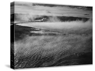 Water Surface Presents A Different Texture, Fountain Geyser Pool Yellowstone NP Wyoming 1933-1942-Ansel Adams-Stretched Canvas Print