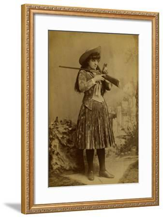 Female Wild West Sharpshooter With Rifle, 1889-J. Ulrich-Framed Art Print