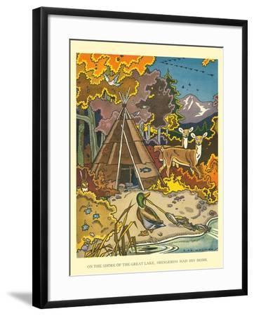 Shingebiss' Home- Hauman-Framed Art Print