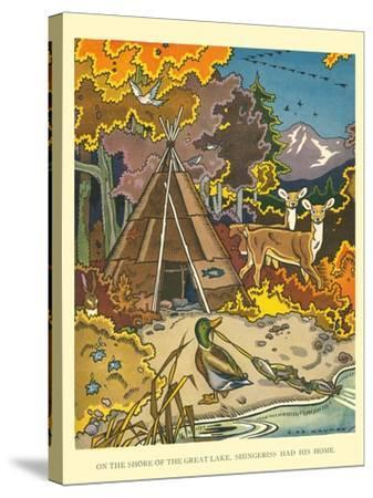 Shingebiss' Home- Hauman-Stretched Canvas Print