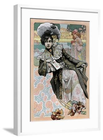 Spanish Art Nouveau Girl With Catalog- Camps-Framed Art Print