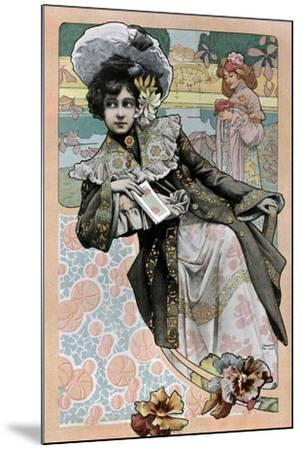 Spanish Art Nouveau Girl With Catalog- Camps-Mounted Art Print