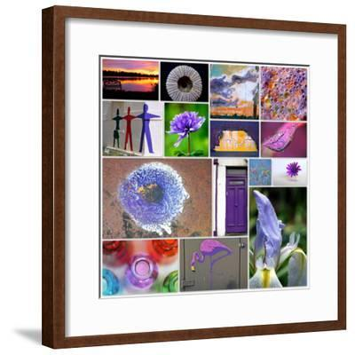 Purple Blossom Collage-Gail Peck-Framed Photo