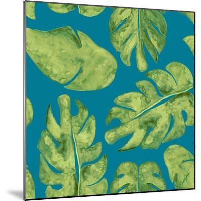 Leaves On Teal-Kat Papa-Mounted Art Print