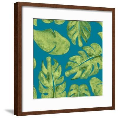 Leaves On Teal-Kat Papa-Framed Art Print