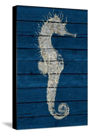 Antique Seahorse on Blue I-Patricia Pinto-Stretched Canvas Print
