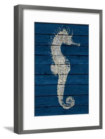 Antique Seahorse on Blue I-Patricia Pinto-Framed Art Print