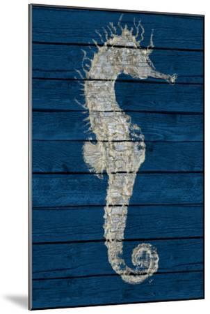 Antique Seahorse on Blue I-Patricia Pinto-Mounted Art Print