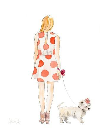 Water Color Girl With Puppy II-Lanie Loreth-Framed Art Print