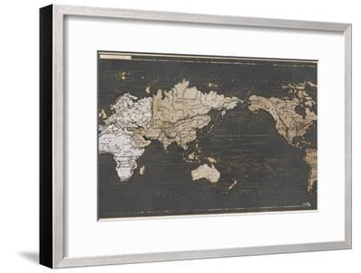World Map in Gold and Gray-Elizabeth Medley-Framed Art Print