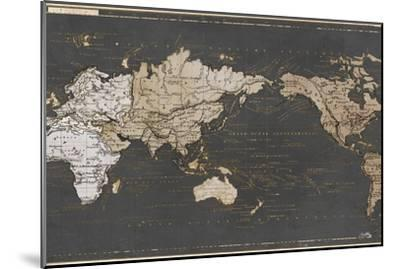 World Map in Gold and Gray-Elizabeth Medley-Mounted Art Print