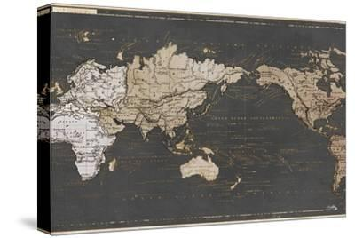 World Map in Gold and Gray-Elizabeth Medley-Stretched Canvas Print