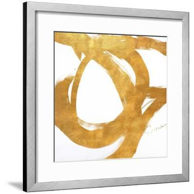 Gold Circular Strokes I-Megan Morris-Framed Art Print