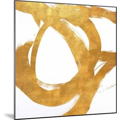 Gold Circular Strokes I-Megan Morris-Mounted Art Print