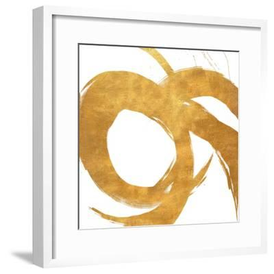 Gold Circular Strokes II-Megan Morris-Framed Art Print