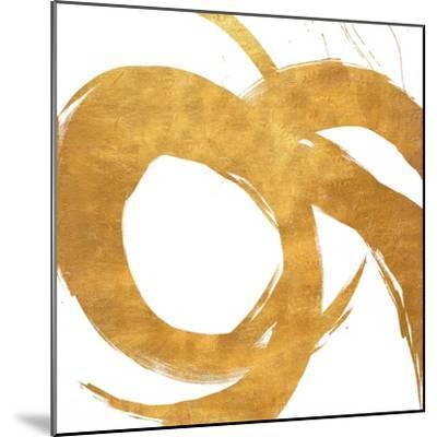 Gold Circular Strokes II-Megan Morris-Mounted Art Print
