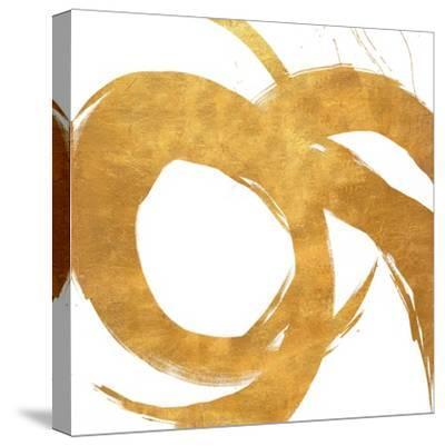 Gold Circular Strokes II-Megan Morris-Stretched Canvas Print