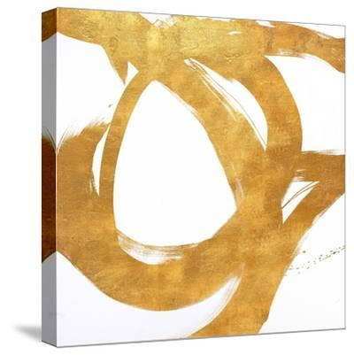 Gold Circular Strokes I-Megan Morris-Stretched Canvas Print