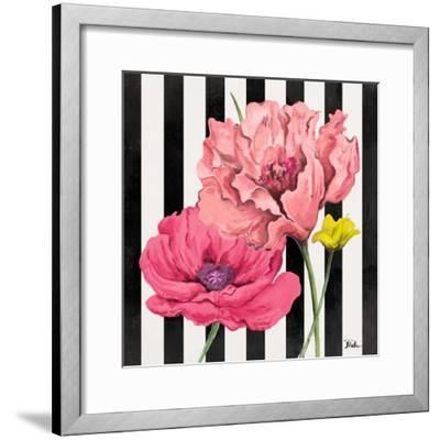 Poppies on Stripes I-Patricia Pinto-Framed Art Print