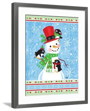 Penguins & Snowman-Teresa Woo-Framed Art Print
