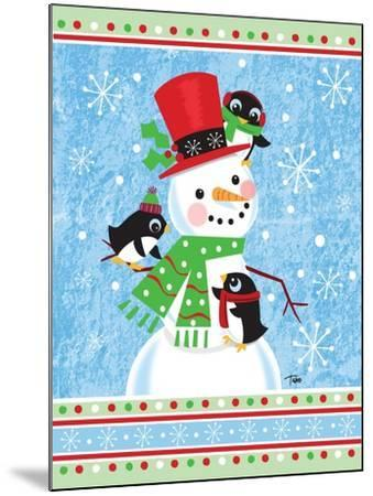 Penguins & Snowman-Teresa Woo-Mounted Art Print