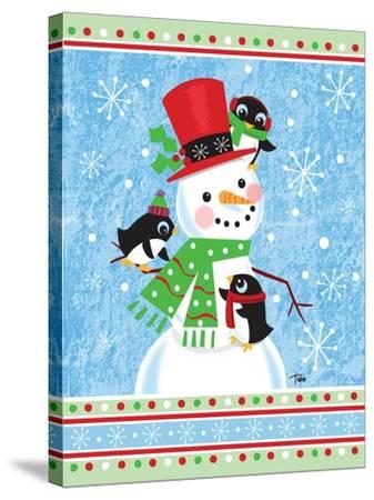 Penguins & Snowman-Teresa Woo-Stretched Canvas Print