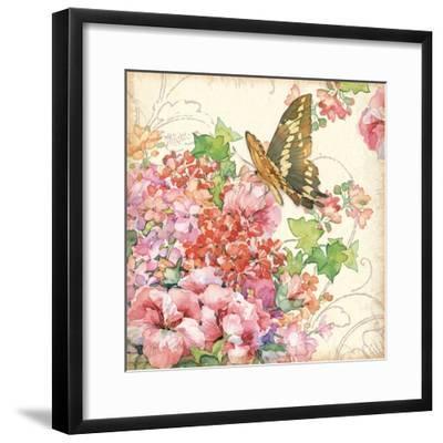 Geranium & Butterflies-Julie Paton-Framed Art Print