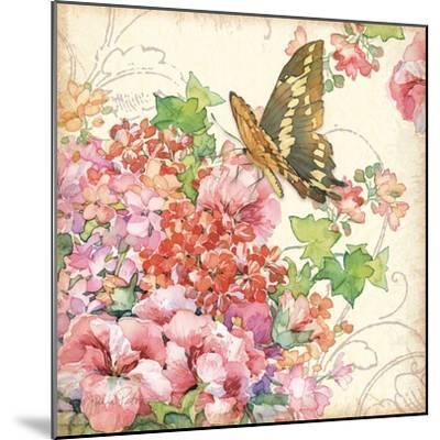 Geranium & Butterflies-Julie Paton-Mounted Art Print