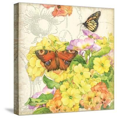 Primrose & Butterflies-Julie Paton-Stretched Canvas Print