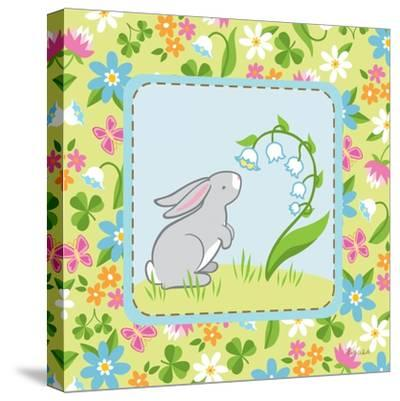 Meadow Bunny I-Betz White-Stretched Canvas Print