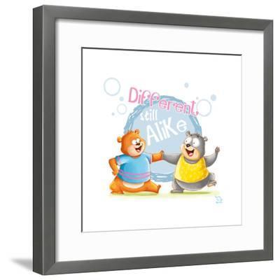 Different Still Alike- Blue Fish-Framed Art Print
