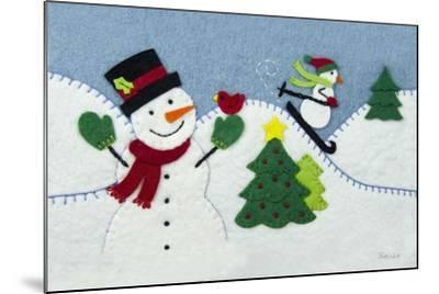 Holiday Snowman-Betz White-Mounted Art Print