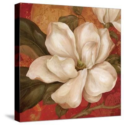 Magnolia on Red II-Pamela Gladding-Stretched Canvas Print