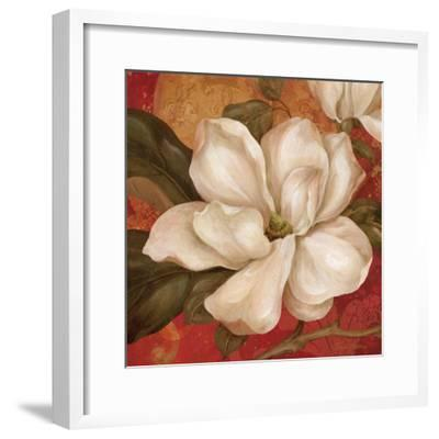 Magnolia on Red II-Pamela Gladding-Framed Art Print