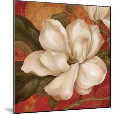 Magnolia on Red II-Pamela Gladding-Mounted Art Print