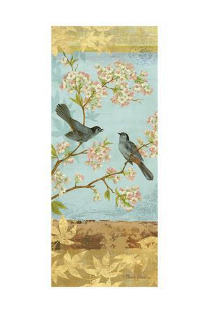 Catbirds & Blooms Panel-Pamela Gladding-Framed Art Print
