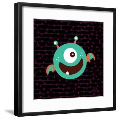 Bouncy- Blue Fish-Framed Art Print