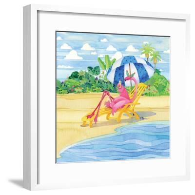 Deck Chair Flamingo-Paul Brent-Framed Art Print