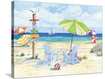 Beachside Chairs-Paul Brent-Stretched Canvas Print