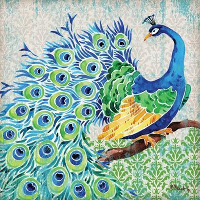 Patterned Peacock I-Paul Brent-Stretched Canvas Print