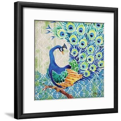 Patterned Peacock II-Paul Brent-Framed Art Print