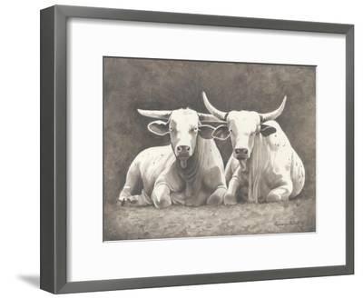 Two White Bulls-Gwendolyn Babbitt-Framed Art Print