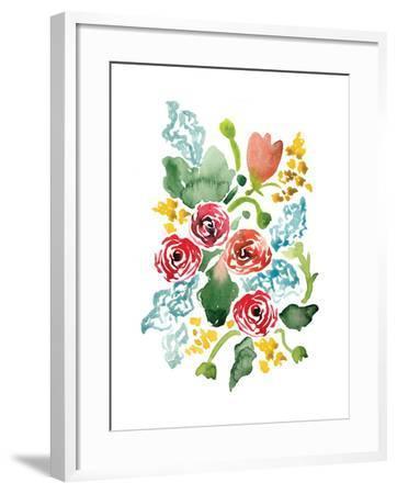 Red Floral Array II-Sara Berrenson-Framed Art Print